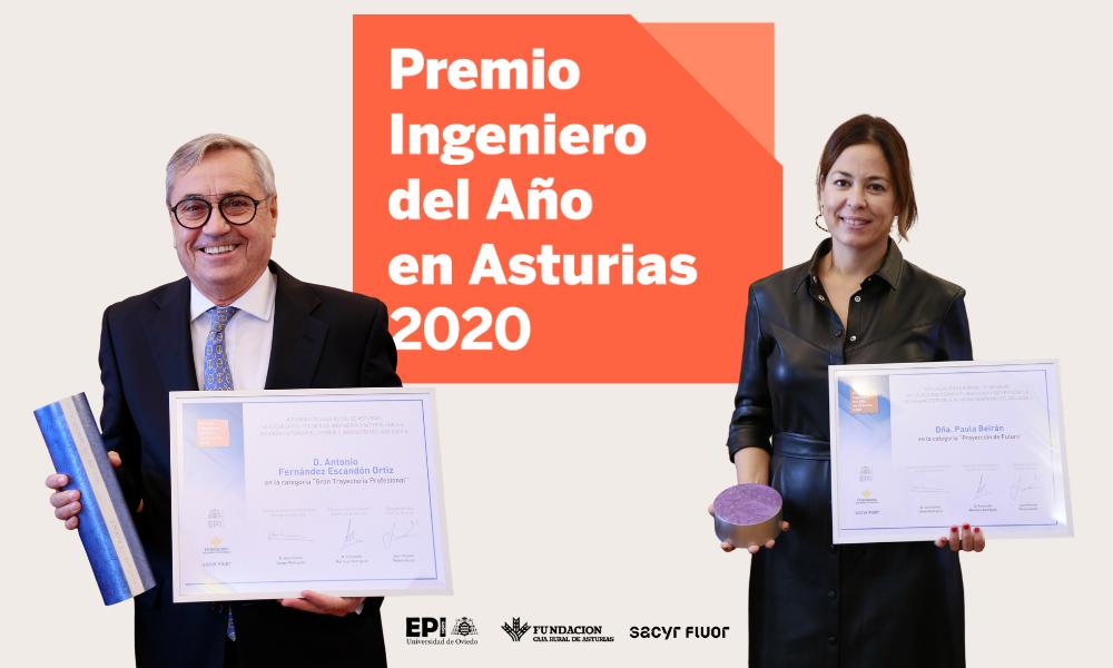 Antonio Fernández Escandón-Ortiz y Paula Beirán reciben el Premio Ingeniero del Año en Asturias 2020
